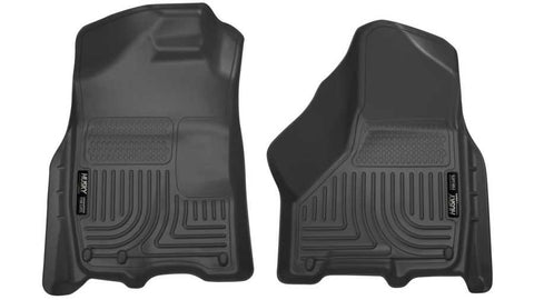 Ram 3500 Laramie Crew Cab;Extended Crew Cab2011-2018 - Black Front Floor Liners - Weatherbeater Series