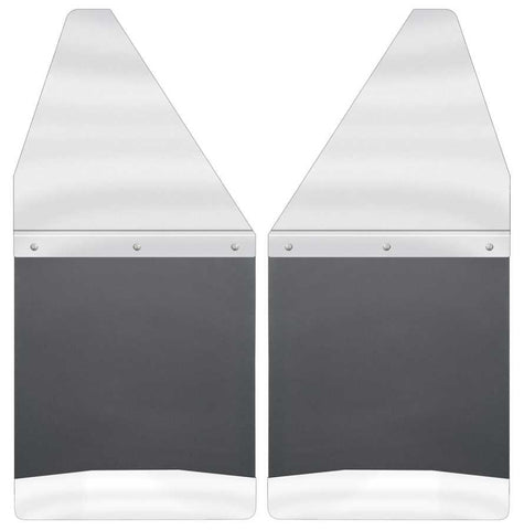 Toyota Tacoma X-Runner 1995-2020 - Silver Kick Back Mud Flaps 12in. Wide-Stainless Steel Top and Weight - Mud Flaps