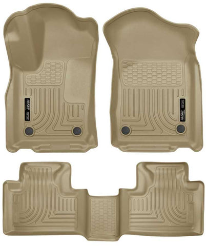 Dodge Durango Citadel Platinum 2016-2020 - Tan Front/2nd Seat Floor Liners - Weatherbeater Series