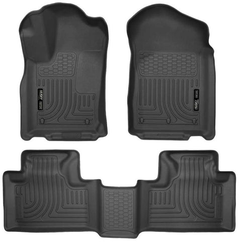 Dodge Durango Crew Plus 2011-2015 - Black Front/2nd Seat Floor Liners - Weatherbeater Series