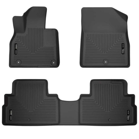 Hyundai Palisade Essential 2020-2020 - Black Front/2nd Seat Floor Liners - Weatherbeater Series
