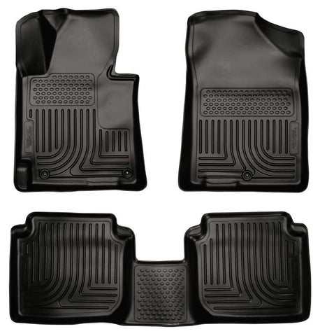 Hyundai Elantra Touring L 2011-2013 - Black Front/2nd Seat Floor Liners - Weatherbeater Series