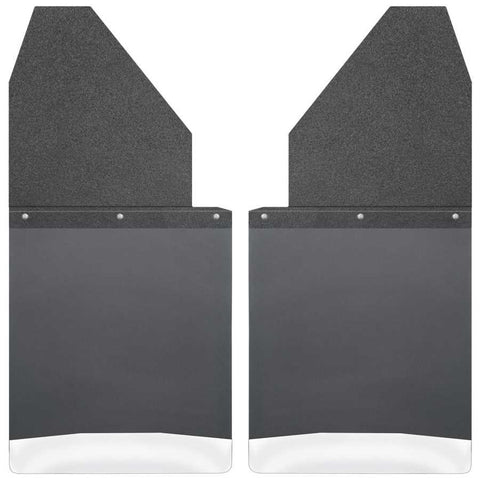 GMC Sierra 1500 Elevation Standard Side Bed1999-2020 - Black Kick Back Mud Flaps 14in. Wide-Black Top and Stainless Steel Weight - Mud Flaps