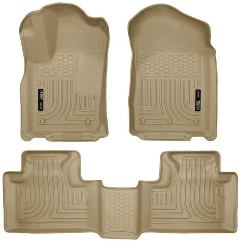 Dodge Durango Crew Plus 2011-2015 - Tan Front/2nd Seat Floor Liners - Weatherbeater Series