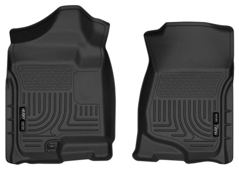 GMC Sierra 1500 SLT Crew Cab;Extended Cab2007-2013 - Black Front Floor Liners - Weatherbeater Series