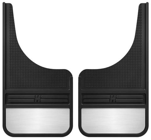 Chevrolet Silverado 1500 High Country 1999-2020 - Black Rubber Front Mud Flaps-12IN w/Weight - MudDog Mud Flaps