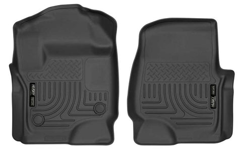 Ford F-250 Super Duty Lariat Crew Cab;Extended Cab2017-2020 - Black Front Floor Liners - Weatherbeater Series