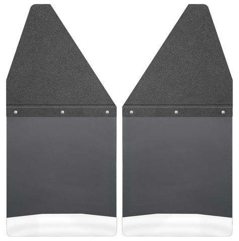Toyota Tacoma X-Runner 1995-2020 - Black Kick Back Mud Flaps 12in. Wide-Black Top and Stainless Steel Weight - Mud Flaps