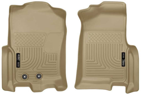 Ford Expedition EL Platinum 2012-2017 - Tan Front Floor Liners - Weatherbeater Series