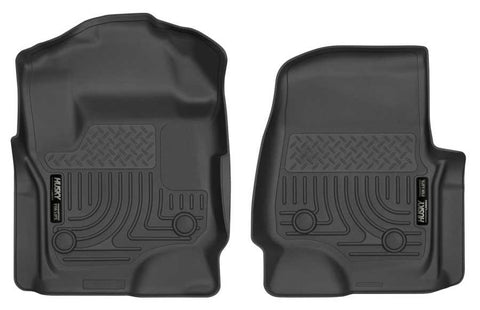 Ford F-350 Super Duty XLT Crew Cab;Extended Cab2017-2020 - Black Front Floor Liners - Weatherbeater Series