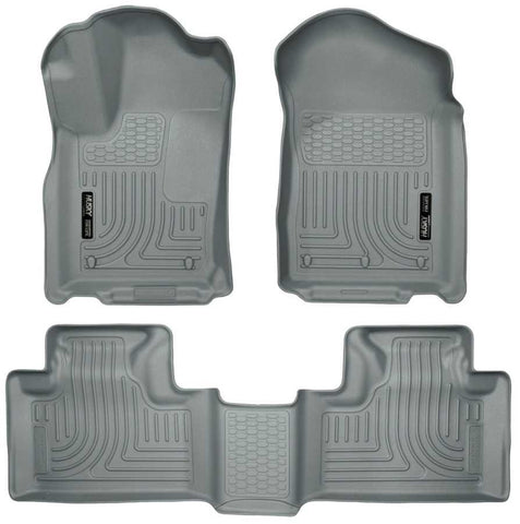 Dodge Durango Crew Plus 2011-2015 - Gray Front/2nd Seat Floor Liners - Weatherbeater Series