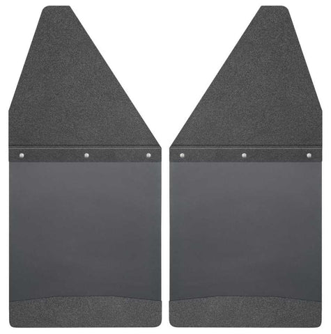 Toyota Tacoma X-Runner 1995-2020 - Black Kick Back Mud Flaps 12in. Wide-Black Top and Black Weight - Mud Flaps