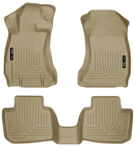Subaru XV Crosstrek Touring 2013-2015 - Tan Front/2nd Seat Floor Liners - Weatherbeater Series