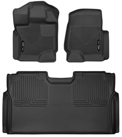 Ford F-150 XLT Crew Cab2015-2020 - Black Front/2nd Seat Floor Liners - X-act Contour Series