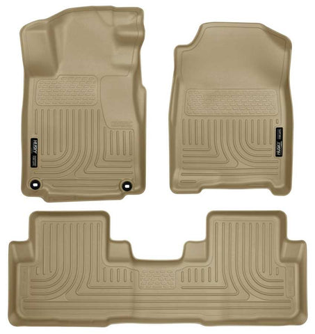 Honda CR-V Touring 2012-2015 - Tan Front/2nd Seat Floor Liners - Weatherbeater Series