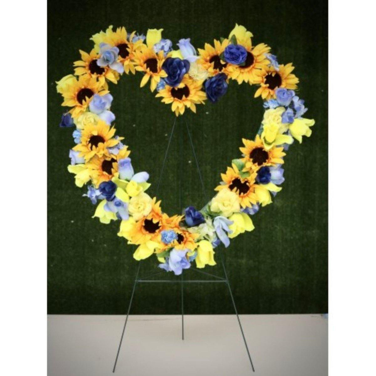 Artificial Floral Heart Wreath for Cemetery - Shalimar Flower Shop