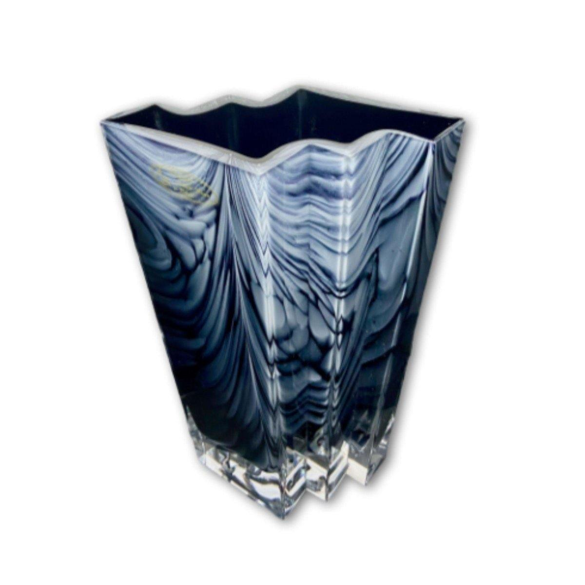 Blue & White Marbled Premium Vase