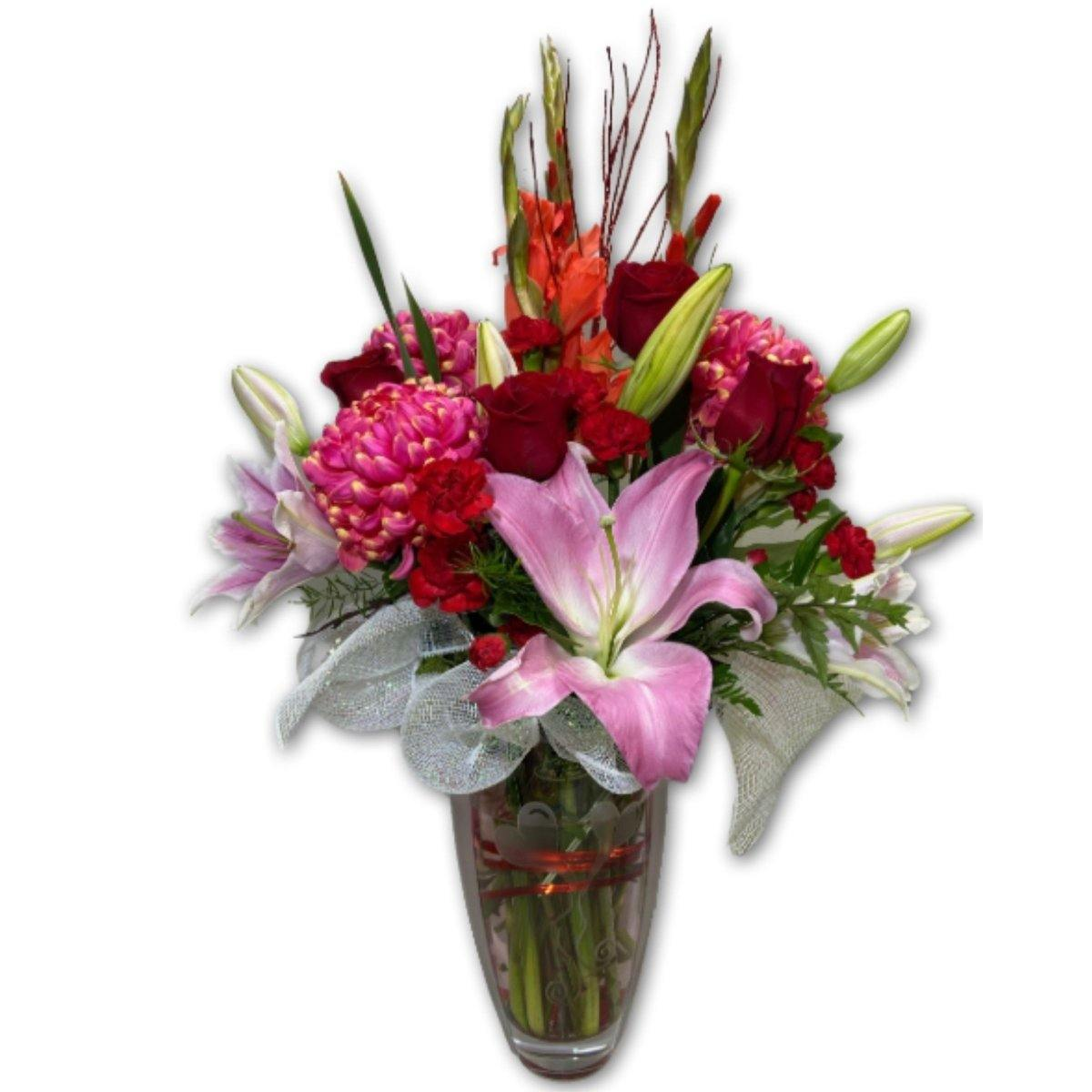 Love Burst Arrangement in Polish Vase - Shalimar Flower Shop