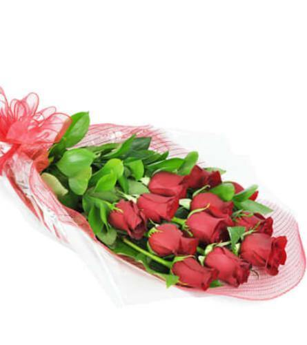 Perfect Wrapped Long-Stemmed Red Roses - Shalimar Flower Shop