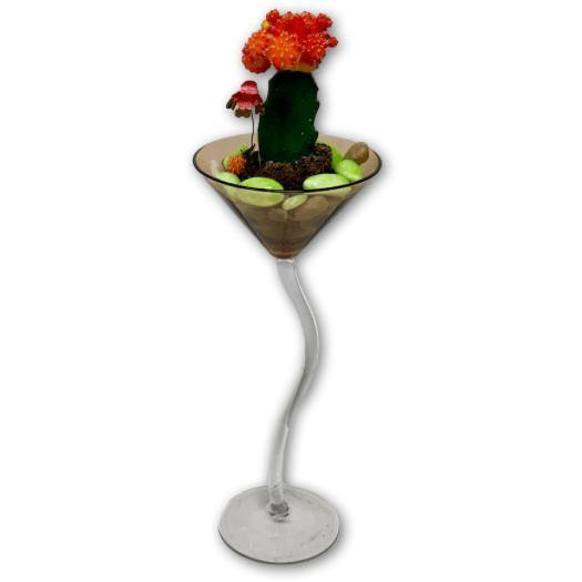 Ruby Radiance Cactus Garden in a Martini Glass - Shalimar Flower Shop
