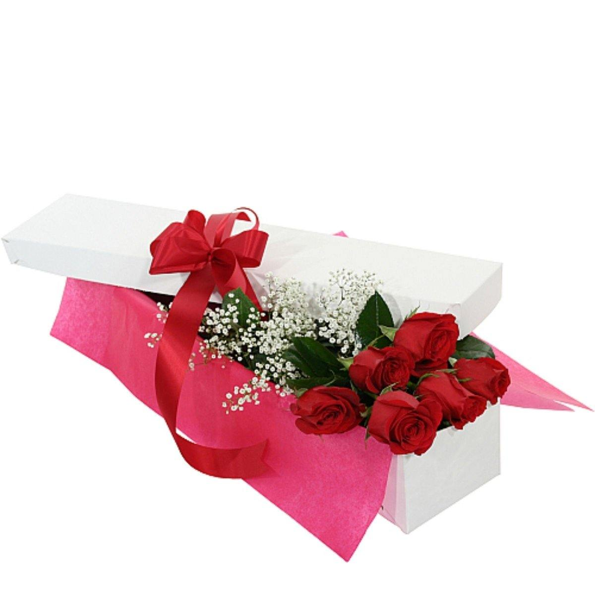 Six Red Roses in a Gift Box - Shalimar Flower Shop