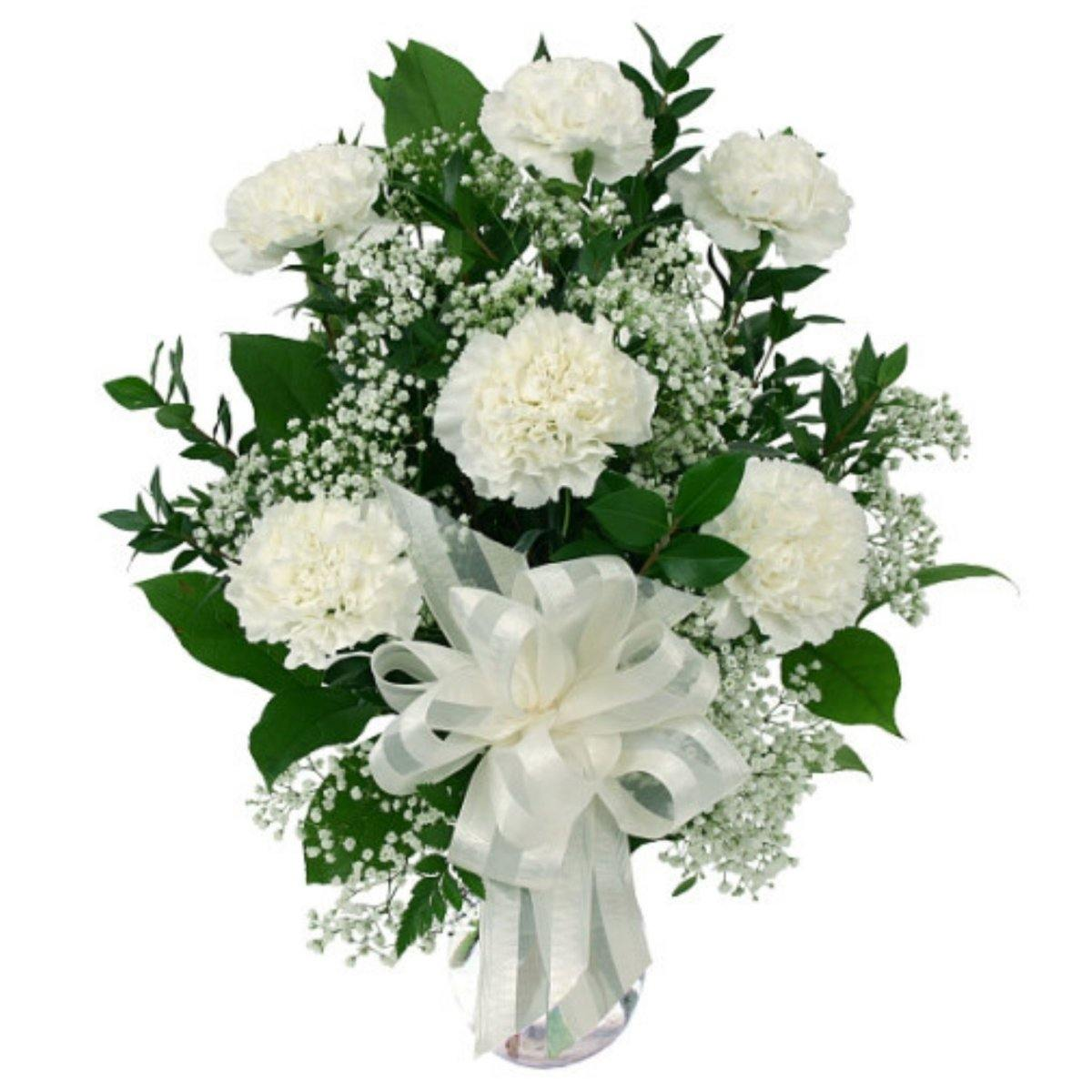 Six White Carnations 2019 - Shalimar Flower Shop