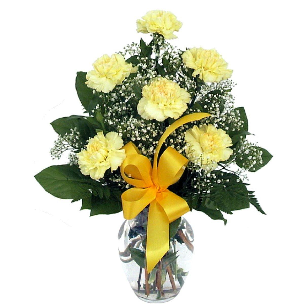 Six Yellow Carnations Bouquet 2019 - Shalimar Flower Shop