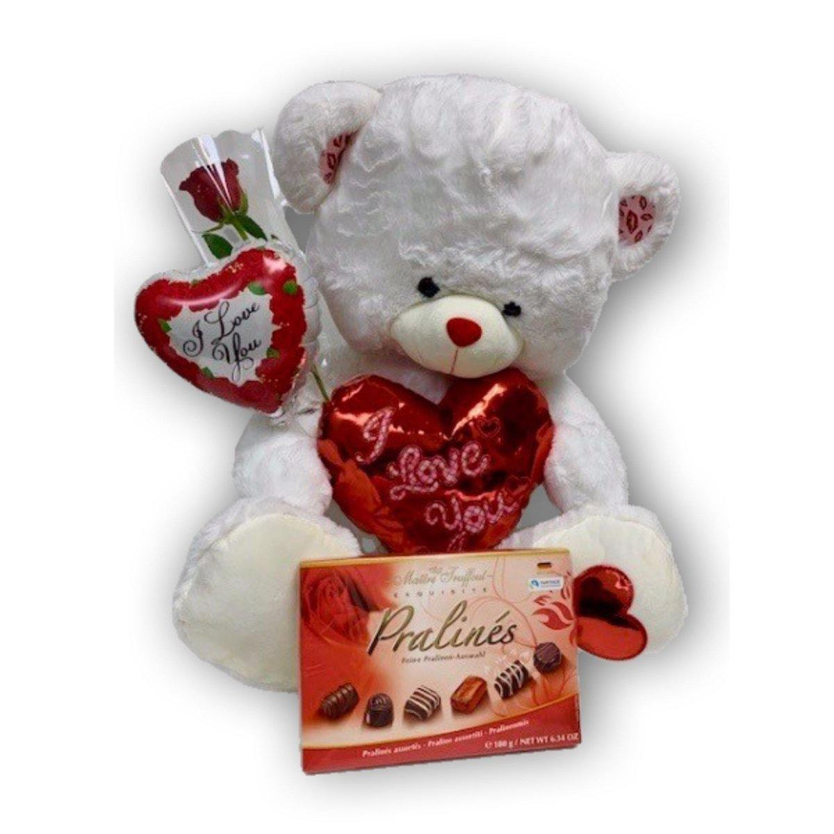 Smooches Teddy Bear with Chocolate - Shalimar Flower Shop