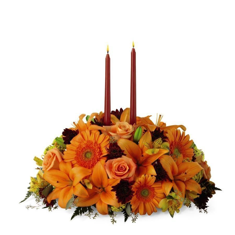 The FTD® Bright Autumn Centerpiece - Shalimar Flower Shop