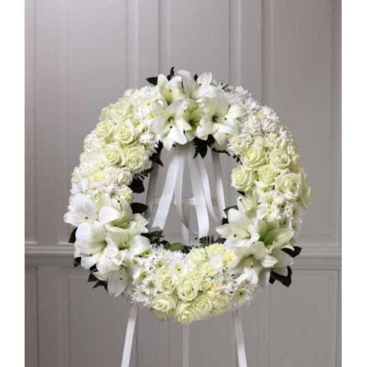 The FTD® Wreath of Remembrance in White - Shalimar Flower Shop