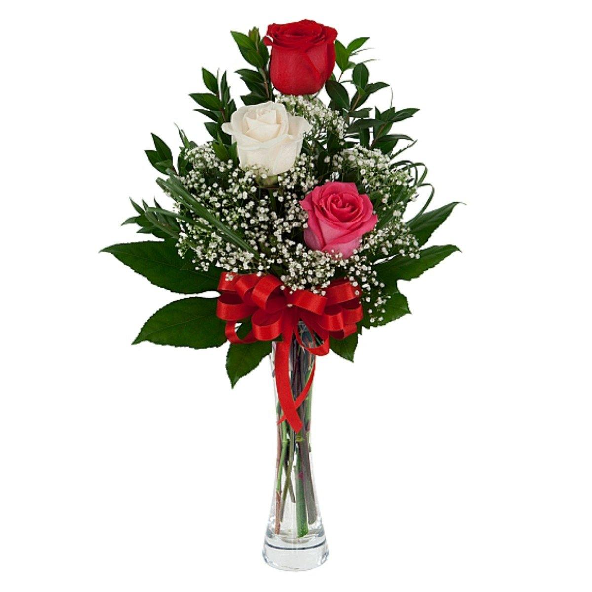 Triple Rose Bouquet with Vase 2019 - Shalimar Flower Shop