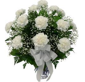 Twelve White Carnations in Lovely Glass Vase - Shalimar Flower Shop