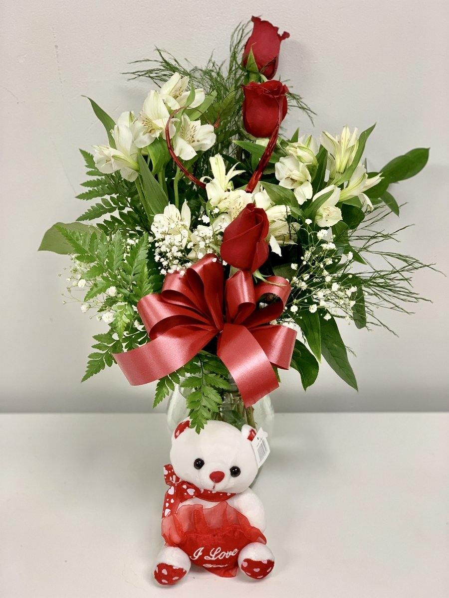 Valentine's Day Floral Arrangement + Teddy - Shalimar Flower Shop