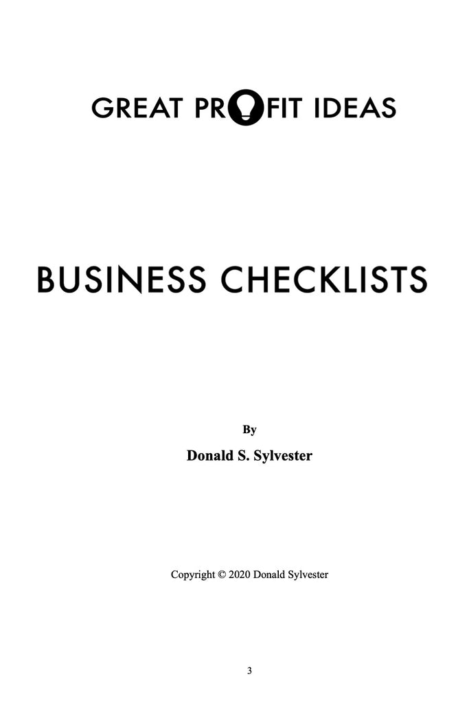 Great Profit Ideas - Business Checklists - Volume 1