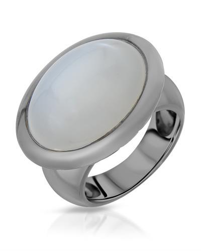 HELLMUTH Brand New Ring with 22.96ctw moonstone 925 Black sterling silver