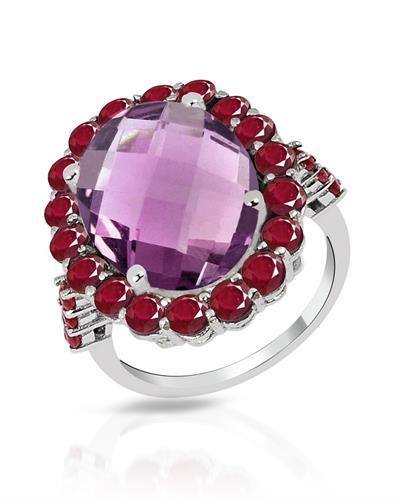 Brand New Ring with 10.7ctw of Precious Stones - amethyst and ruby 925 Silver sterling silver