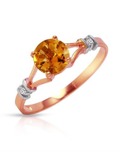 Magnolia Brand New Ring with 1.02ctw of Precious Stones - citrine and diamond 14K Two tone gold