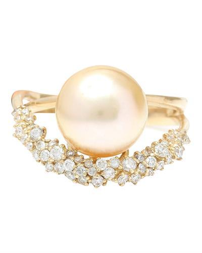 3.48 mm Gold South Sea Pearl 14K Solid Yellow Gold Diamond Ring