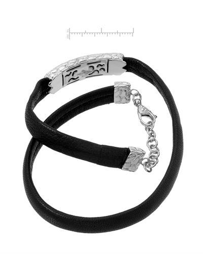 HELLMUTH Brand New Bracelet with 0.41ctw diamond  Black leather and 925 Silver sterling silver