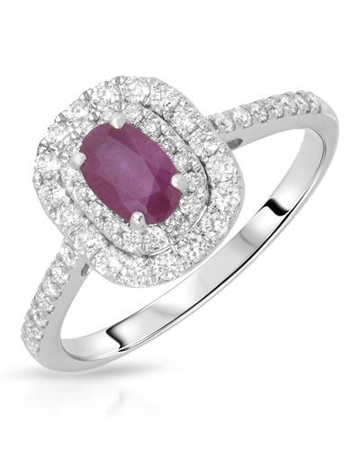 Julius Rappoport Brand New Ring with 1.07ctw of Precious Stones - diamond and ruby 14K White gold
