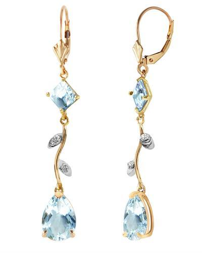 Magnolia Brand New Earring with 3.97ctw of Precious Stones - aquamarine and diamond 14K Yellow gold