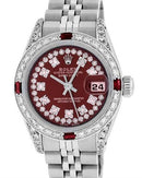 Rolex PreOwned Automatic (Self Winding) date Watch with 1.25ctw of Precious Stones - diamond and ruby