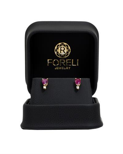 Brand New Earring with 0.85ctw of Precious Stones - diamond and ruby 14K Yellow gold