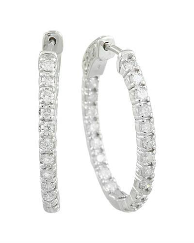 2.00 Carat 14K White Gold Diamond Hoop Earrings