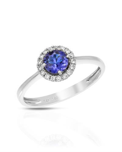 Brand New Ring with 0.49ctw of Precious Stones - diamond and tanzanite 14K White gold