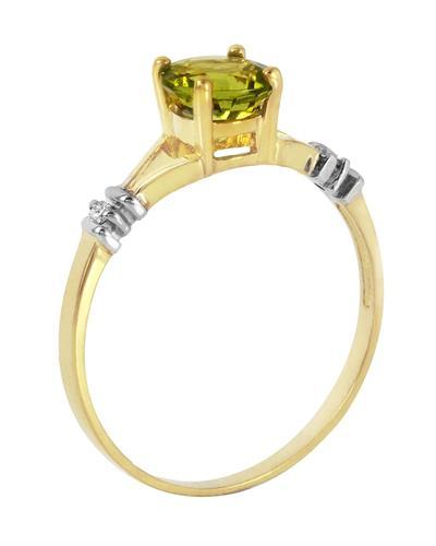 Magnolia Brand New Ring with 0.87ctw of Precious Stones - diamond and peridot 14K Two tone gold