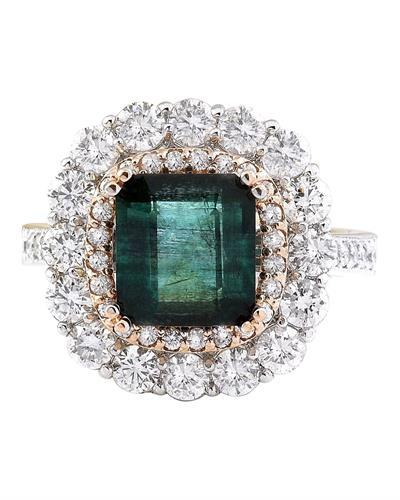 5.32 Carat Natural Emerald 14K Solid Two Tone Gold Diamond Ring