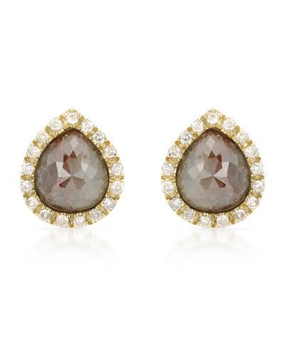 Brand New Earring with 3.34ctw of Precious Stones - diamond and diamond ctr 14K Yellow gold