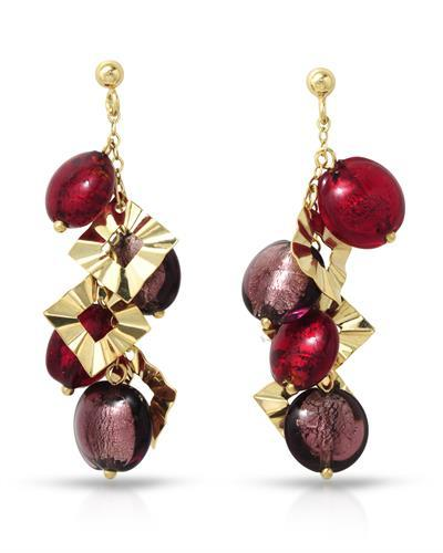Millana Brand New Earring 14K Yellow gold and  Two tone Murano Glass