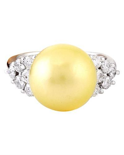 12.90 mm Gold South Sea Pearl 14K Solid White Gold Diamond Ring